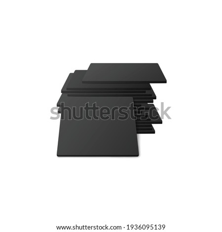 Wall mural Square black beer coasters or table mats realistic vector illustration isolated.