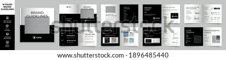 Square Brand Manual Template, Simple style and modern layout Brand Book, Brand Identity, Brand Guideline, Guide Book Сток-фото ©