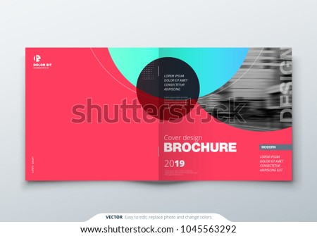 Square Brochure design. Magenta corporate business rectangle template brochure, report, catalog, magazine. Brochure layout modern circle abstract background. Creative brochure vector concept