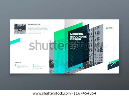 Square Brochure design. Teal corporate business rectangle template brochure, report, catalog, magazine. Brochure layout modern memphis abstract background. Vector concept