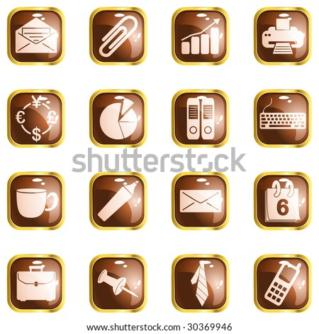 Square brown High-gloss office buttons (vector); a JPG version is also available