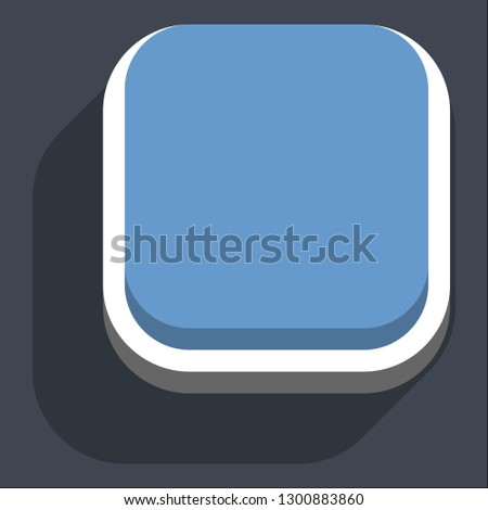 Square button isometric icon. Blue shape with drop shadow on gray background is created in trendy 3D flat style. Inactive variant.The graphic element for design saved as a vector illustration.