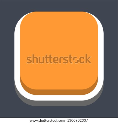 Square button isometric icon. Orange shape on gray background is created in trendy 3D flat style. Inactive variant.The graphic element for design saved as a vector illustration.