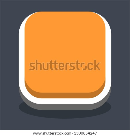 Square button isometric icon. Orange shape with drop shadow on gray background is created in trendy 3D flat style. Inactive variant.The graphic element for design saved as a vector illustration.