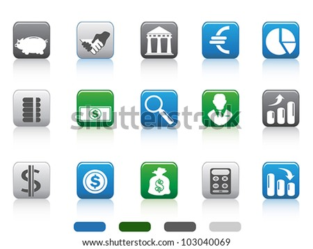 square button of simple Finance and Banking icons set - stock vector