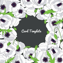 Square card template with hand drawn white poppy flowers frame. Vector illustration.