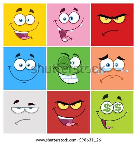 square cartoon emoticons