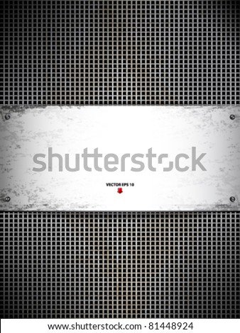 Square cell metal background. Vector card.
