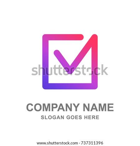 Square Check Box Tick Vote Election Logo Vector