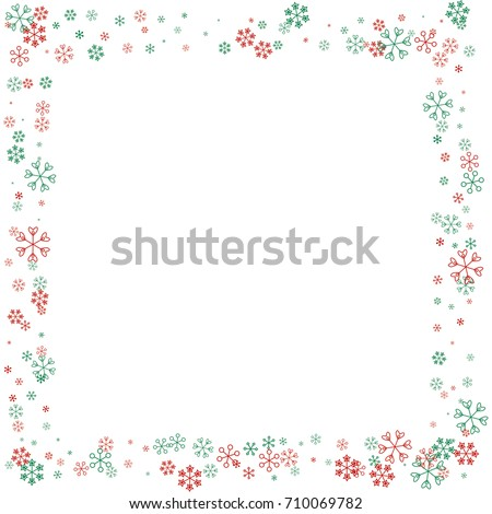 Square Christmas border or frame with random scatter falling red and green snowflakes isolated on white.