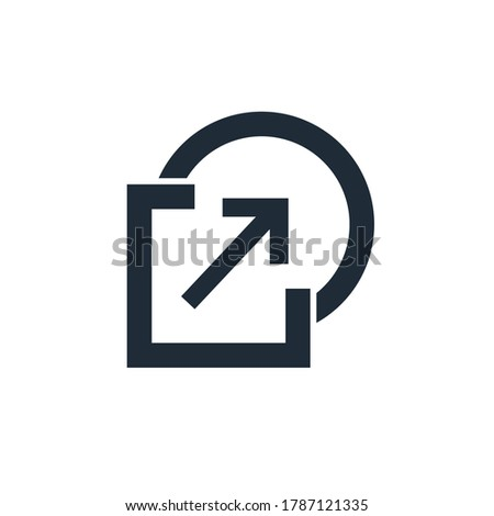 Square, circle and arrow. Transition from square to round. Vector linear icon isolated on white background. Stockfoto ©