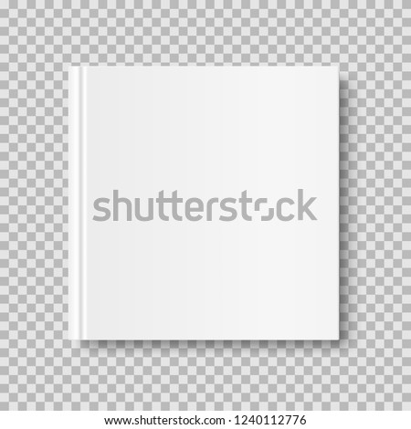 Square closed book mock up isolated on transparent background. White blank cover. 3D realistic book, notepad, diary etc vector illustration