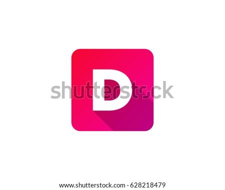 square color gradient letter d