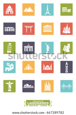 Square color icons collection of international landmarks