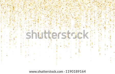 Square confetti gold garlands vector illustration on white. Bright hanging garlands made of square sparkles gold confetti flying on white background. Anniversary holiday decoration.