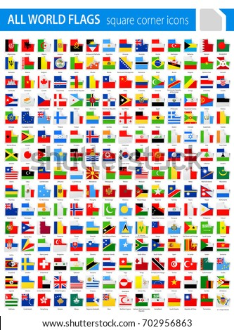 Square Corner Flags - All World Vector illustration