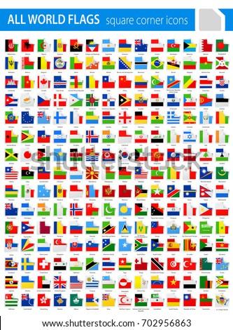 Square Corner Flags - All World Vector illustration
