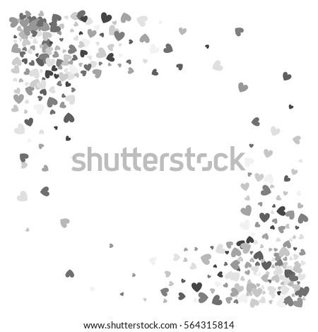 Square Corner Silver Frame Or Border Of Random Scatter Hearts Design For Festive Banner