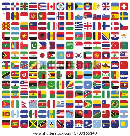 square country flags icon set