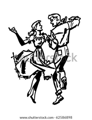 Square Dancers - Retro Clipart Illustration