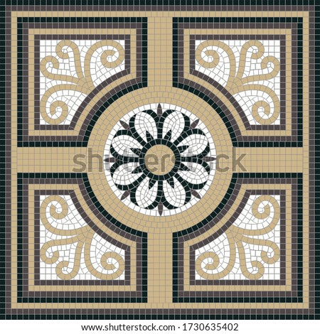 Square decor with geometric and floral motifs. The classic Roman mosaic. Ideal for floor and wall decoration. Each element is isolated and edited. Vector 10 EPS illustration. Photo stock ©