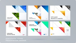 Square design presentation template with colourful triangles and shadows. Abstract vector set of modern horizontal banners