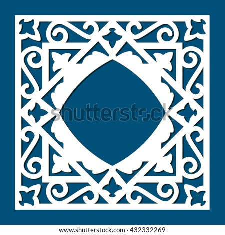 Vector Ornamental Cutout Panel For Laser Cutting. Filigree Cutout