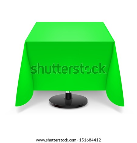 Square dining table with green tablecloth and round leg isolated on white background. - stock vector
