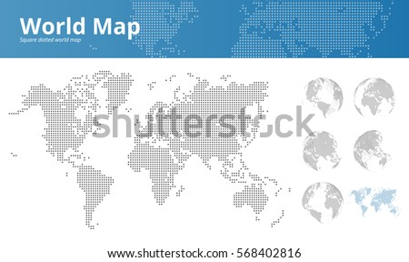Free vector pixel world map download free vector art stock square dotted world map and earth globes showing all continents vector illustration template for web gumiabroncs Image collections