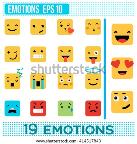 square emotions yellow smileys
