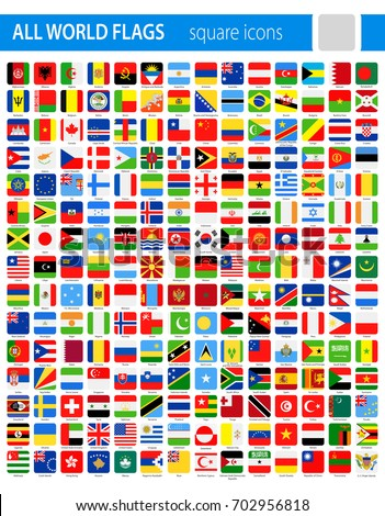 Square Flag Icons - All World Vector illustration