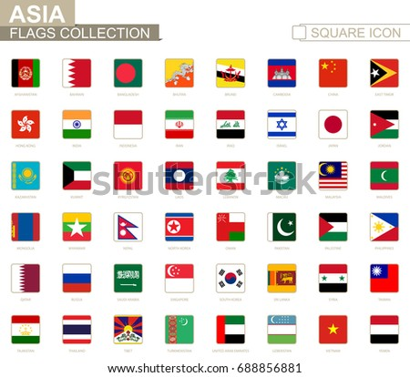 square flags of asia from