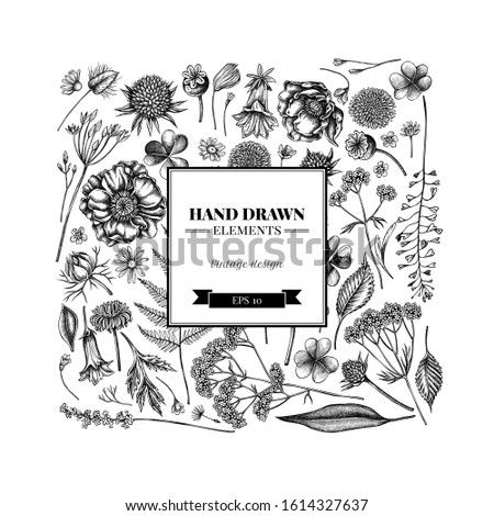 square floral design with black