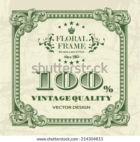 square floral frame in dollar...