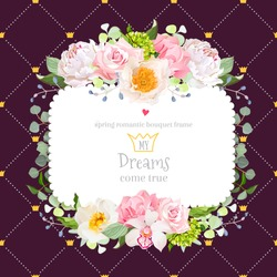Square floral vector design frame. Orchid, peony, wild rose, carnation, camellia flowers. Dark card. Simple backdrop with diagonal lines and princess crowns. All elements are isolated and editable.