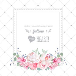 Square floral vector design frame. Orchid, rose, peony, carnation flowers and eucalyptus leaves. Simple backdrop with diagonal lines and small princess crowns. All elements are isolated and editable.
