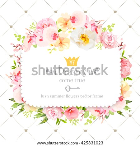 Square floral vector design frame. Orchid, wild rose, camellia flowers and fresh green leaves. Feminine summer decoration. Simple backdrop with diagonal lines and small princess crowns.