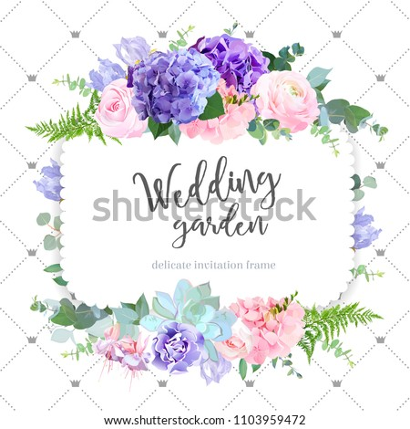 Square floral vector design frame. Rose, ranunculus, hydrangea, iris, fuchsia, carnation, succulent. Wedding card. Delicate violet wedding invitation card. All elements are isolated and editable. #1103959472