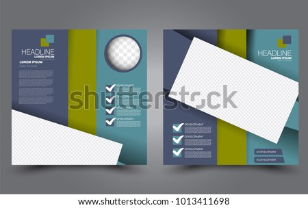 Square Flyer Template Simple Brochure Design For Business And Education Vector Illustration