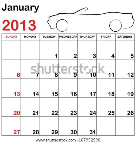 Square Format Note Calendar with a Collection of Cars - January