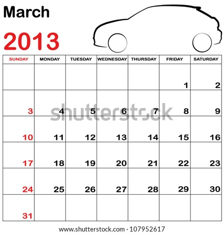 Square Format Note Calendar with a Collection of Cars - March