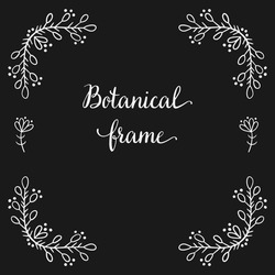 Square frame for text decoration in doodle style. Natural style, branches, plants, flowers. White chalk outline on a black background.