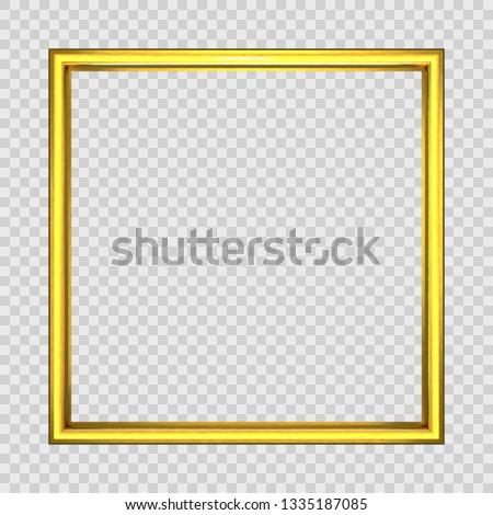 Square frame.illustration of a basic golden frame with room for text on vintage background, vector image, 3D render. eps10
