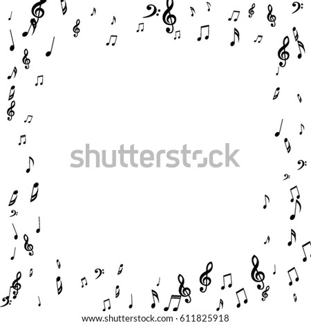 Square Frame Of Music Notes Treble And Bass Clefs Black Musical