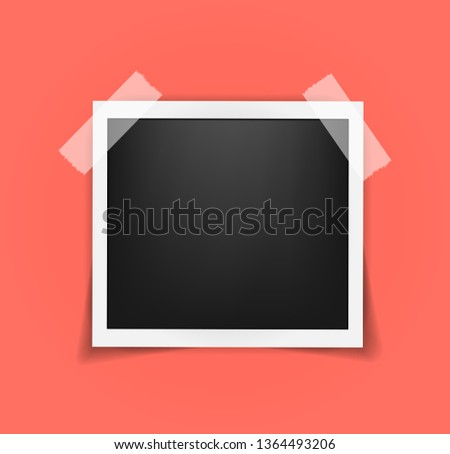 Square frame template on sticky tape with shadows isolated. Living coral - color of 2019 year. Memories concept in modern style. Vector illustration