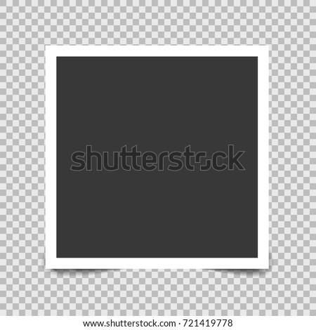Square frame template with realistic shadows on bottom isolated on transparent background. Vector illustration