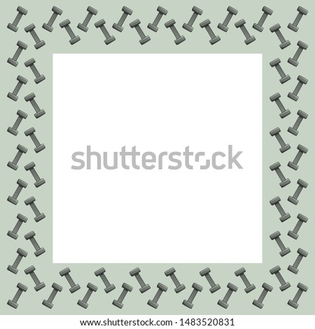 Square frame with dumbbells on a gray background