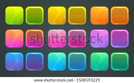 Square frames and buttons for game ore app store logo design. Vector colorful glossy GUI assets.