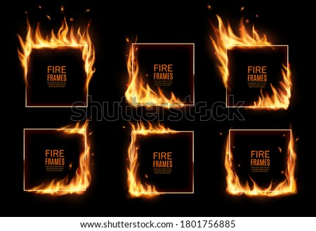 Square frames in fire, vector burning borders. Realistic burn flame tongues with flying particles and embers on rectangular frame edges. 3d flare. Burned hoops or holes in fire, isolated borders set Foto d'archivio ©