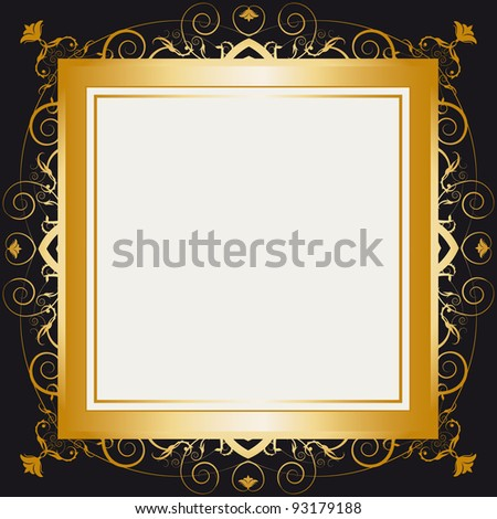 Square gold frame. A frame with a large space for your message